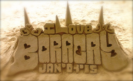 A spot of beach art, where the other half (3/4? 7/8?) lives.
